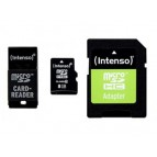 MicroSDHC 8GB Intenso CL10 +USB und SD Adapter Blister